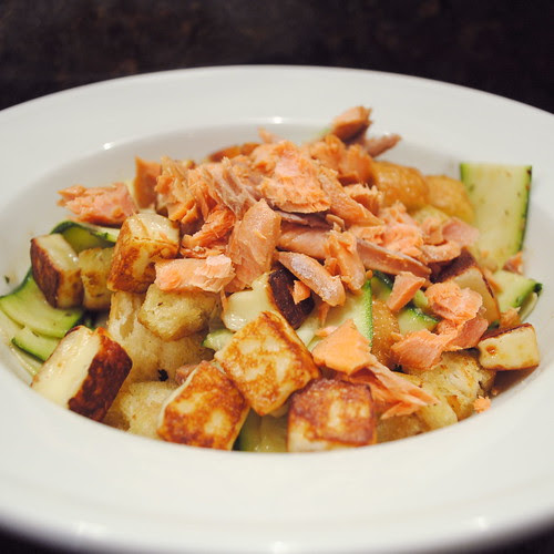 Smoked Salmon, Zucchini and Bread Salad