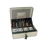 Securit 3-in-1 Cash-Change-Storage Steel Security Box w/ Key, Each (ICX94190025)