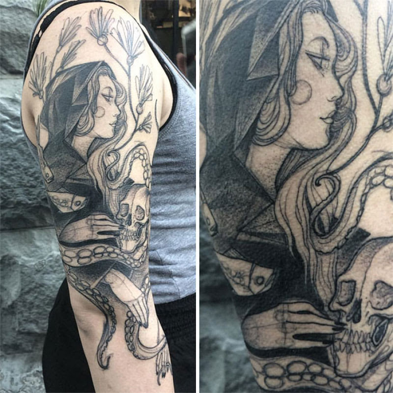 As tatuagens que parecem esboços de desenhos a lápis, por Nomi Chi 09
