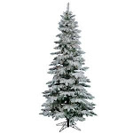 Vickerman 7.5' Flocked Utica Fir Slim Artificial Christmas Tree with 400 Multi LED Lights