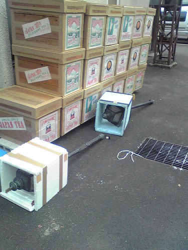 Replica of ancient Japanese street lights lying outside Toho props department