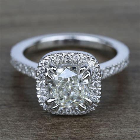 carat cushion petite halo diamond engagement ring