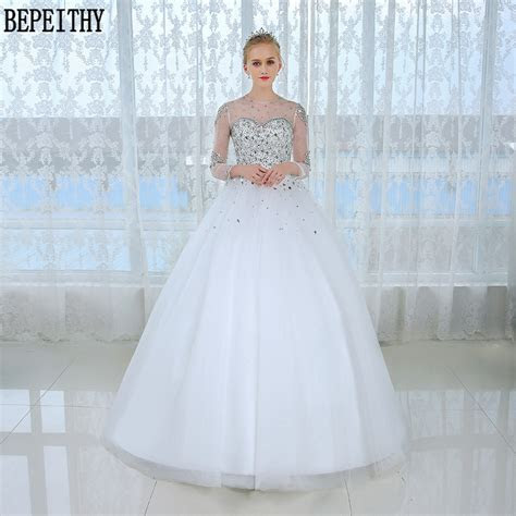 BEPEITHY Casamento Long Sleeve Ball Gown Wedding Dress