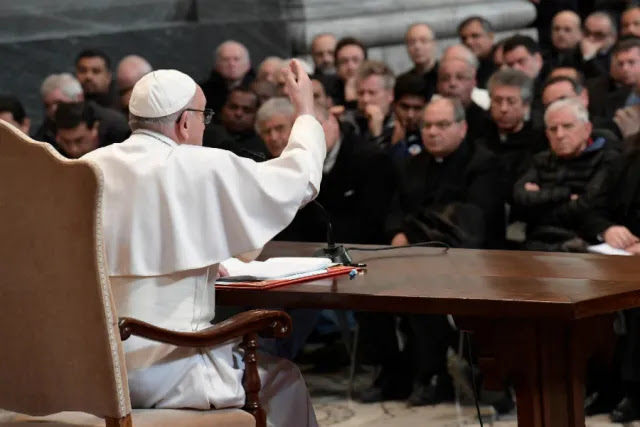 Pope Francis addresses priests of the Diocese of Rome at the Basilica of St. John Lateran, March 2, 2017. Credit: L'Osservatore Romano.