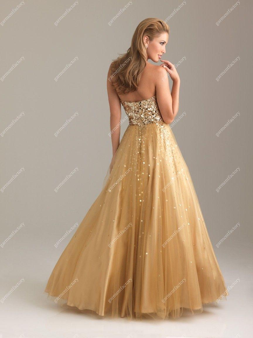 Long evening dress gold