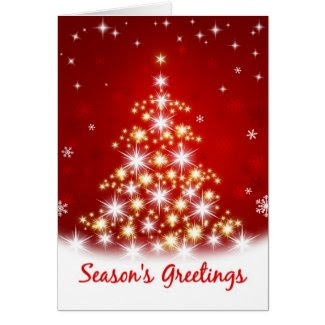 Season's Greetings - Star Tree Christmas Card