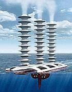 Un modello di una nave automatica che spruzza in cielo un aerosol di acqua di mare (McNeill)
