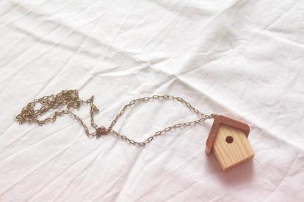Little Bird House pendant (dark oak)