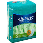 Always Ultra Thin Long Super Pads, Size 2 - 40 count