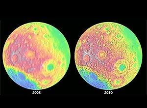 Imagens mostram diferença de detalhes da superfície da Lua em fotos tiradas em dois anos diferentes, em 2005 e 2010