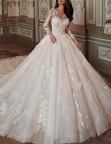 Ball Gown A Line Wedding Dresses Jewel Neck Chapel Train Lace Tulle Long Sleeve Vintage Sexy See Through Backless With Embroidery Appliques 2020 8045558 2021 332 49