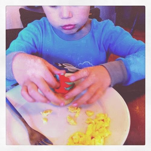 at crushcakes:  cupake and scrambled eggs