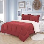 Sweet Home Collection Sherpa Reversible Comforter and Sham Set - Burgundy - Twin