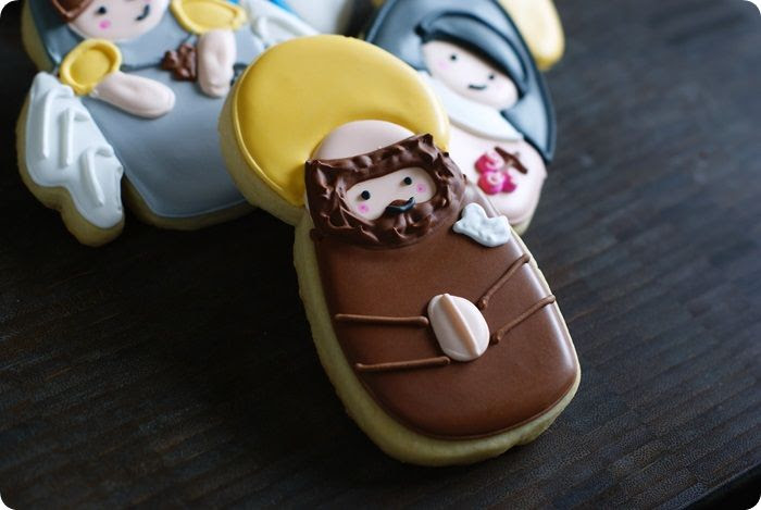 all saints day cookies, st. francis of assisi...post features 5 saint cookie designs