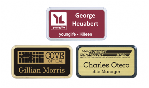 Frame Badge Holds 15 X 3 Laser Engraved Insert Custom Name Tags