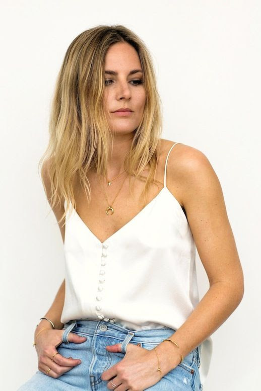 Le Fashion Blog Casual Blogger Style Blonde Wavy Hair Silk White Cami Tank Denim Layered Gold Jewelry Via Fashion Me Now