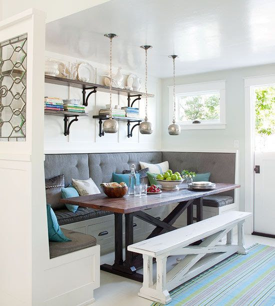 This U-shape banquette maximizes seating and allows for storage underneath.