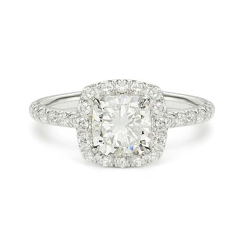 1.41 ct E SI1 CUSHION CUT DIAMOND ENGAGEMENT RING 14K