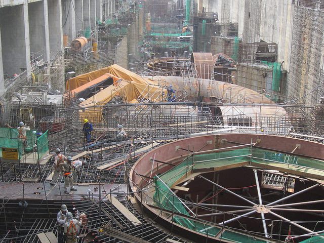 Part of the turbine hall of the Belo Monte hydroelectric power plant, in the northern Brazilian state of Pará, during construction, completed in 2016. Belo Monte, the third largest hydroelectric plant in the world, represents Brazil's farewell to megaprojects in the energy sector. Credit: Mario Osava / IPS