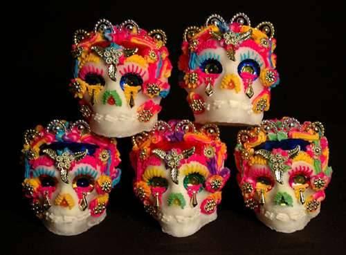 Sugar skulls, medium is sugar, artist unknown