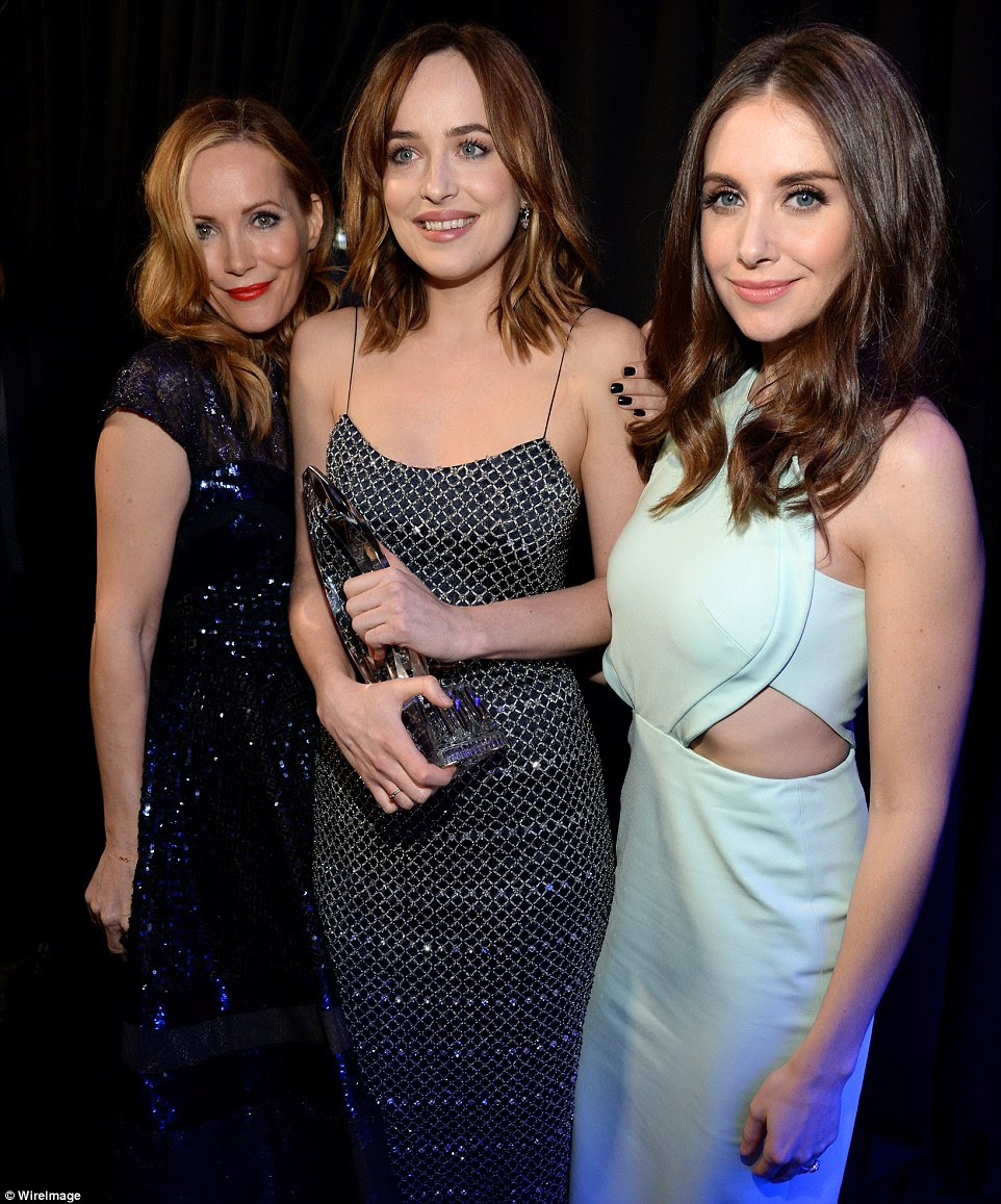 Congratulations!: Dakota Johnson posed with Leslie Mann and Alison Brie after winningFavorite Dramatic Movie Actress