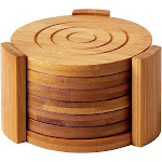 Bamboo Coasters 6-Pack Set - Absorbent And Condensation Wooden Coasters With Holder - Round Cup Coasters For Cold Drinks And Hot Beverage,