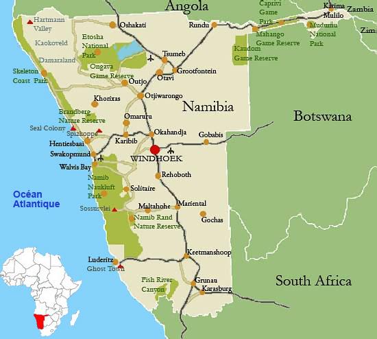 namibie geographie carte