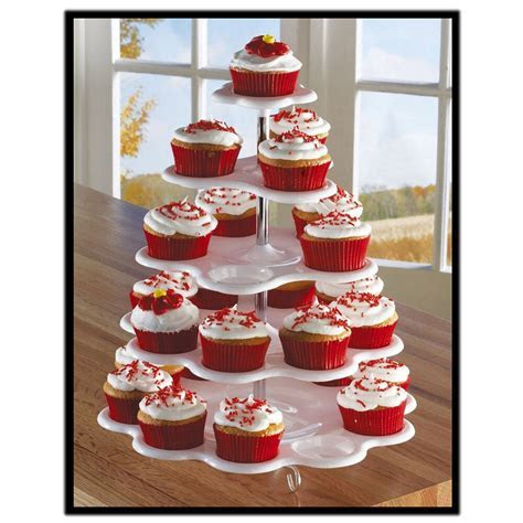 5 Tier White Plastic Cupcake Holder Display Stand Tower