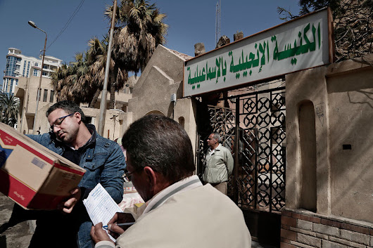 Egyptian Christians fleeing the Sinai after sectarian killings