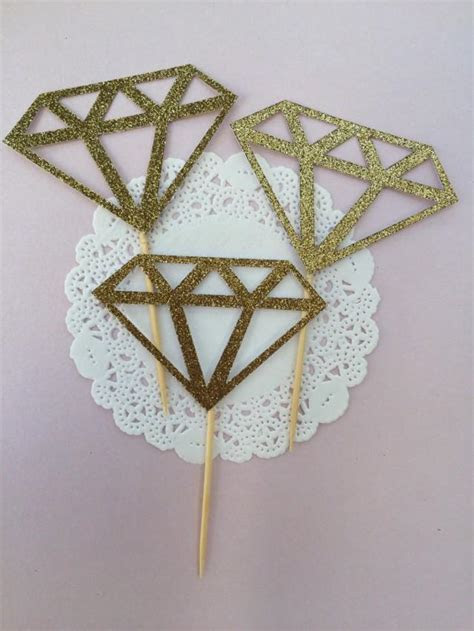 Diamond Cupcake Toppers/ Donut/ Food Toppers/ Engagement