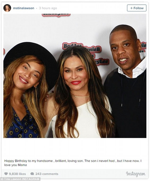 So caring:Beyonce's mother Tina marked the occasion with a picture of the three together and a wonderfully heartfelt missive