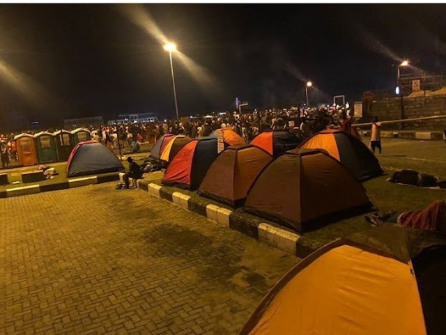 #EndSARS: Camping tents set up for overnight EndSARS protesters