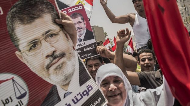 Supporters of ousted Egyptian President Mohammed Morsi in Cairo in June 2012
