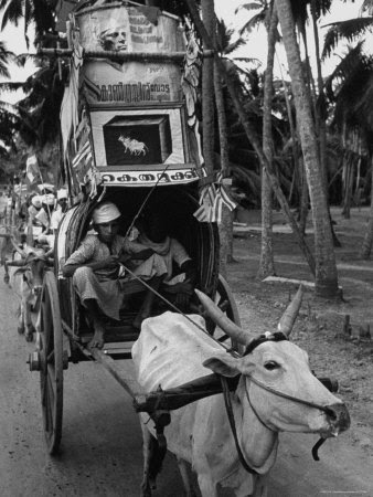 Travancore Cochin Elections, with a Congress Party Campaign Procession Photographic Print