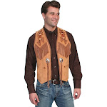 Scully Mens Handlaced Bead Trim Vest - Bourbon