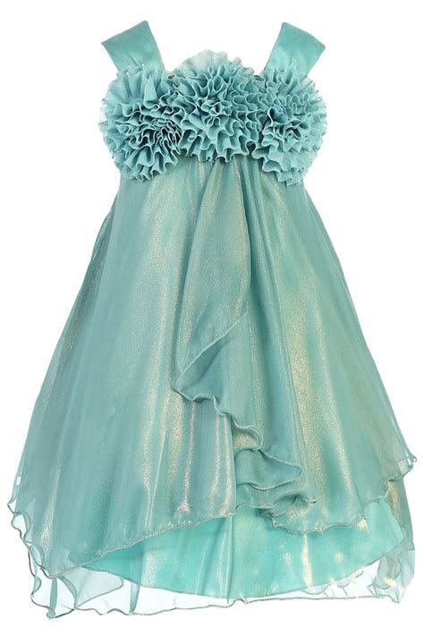 Shimmering Teal Chiffon Occasion Dress with 2 Tier Layers