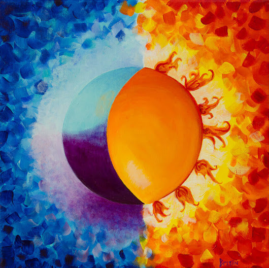 Balancing Sun and Moon painting finds a new home - artist Deb Breton