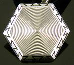 Wordley, Allsopp & Bliss white gold and black enamel Art Moderne cufflinks. (J9115)