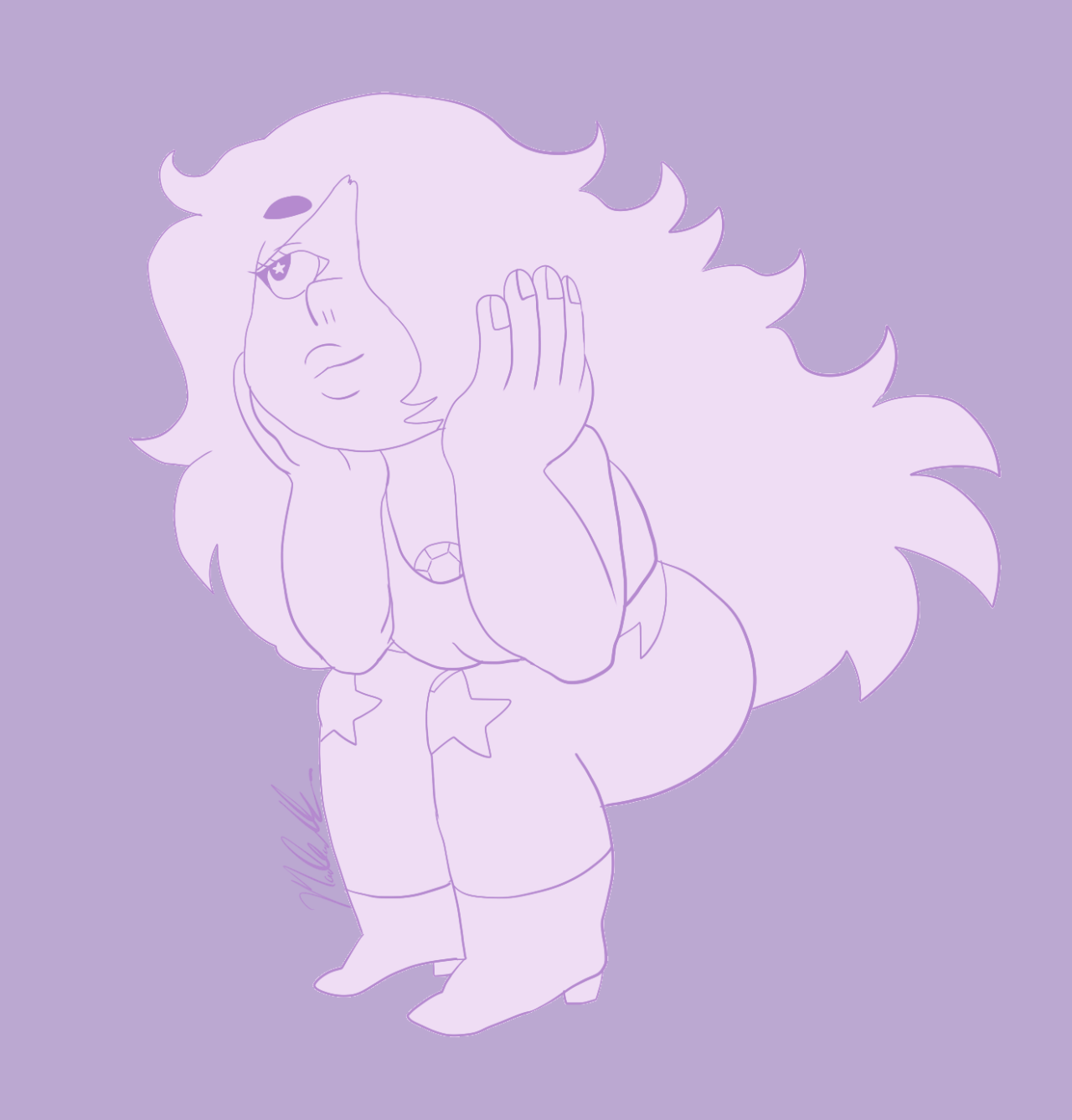 an amethyst doodle. she's probably thinking about peridot
