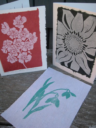 linoblock prints from During Quiet Time