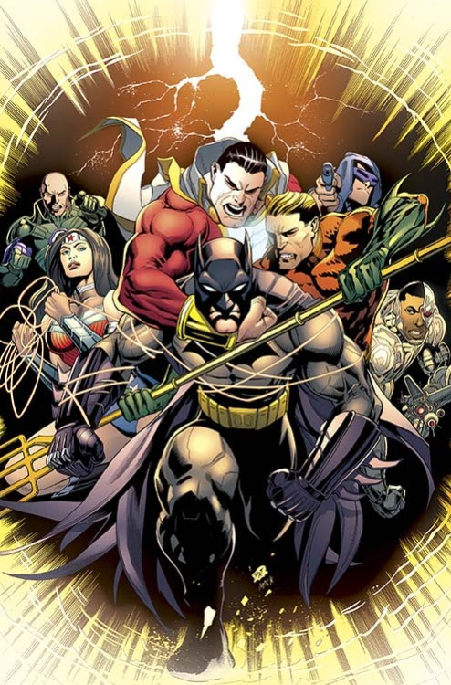 cover for Batman & Robin #33 - Of course it takes the entire Justice League to hold Batman back.