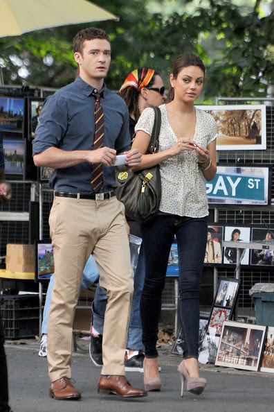 "Mila Kunis and Justin Timberlake shooting scenes for the romantic comedy ""Friends with Benefits"" in New York's famous Central Park. The movie stars Kunis and Timberlake as characters who complicate their friendship by getting romantically involved with each other."