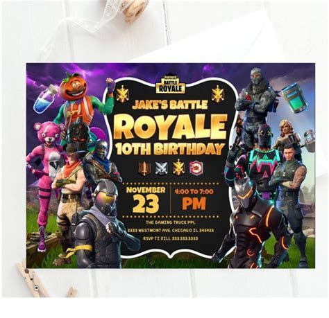 Fortnite birthday invitation, Fortnite battle royale