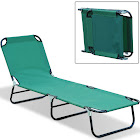 Outsunny Deluxe Folding Adjustable Sun Lounger & Camping Cot, Green