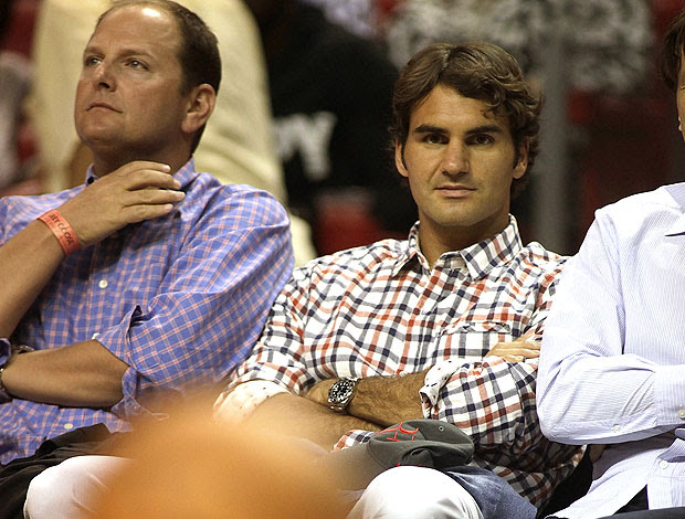 Roger Federer assiste a partida do Miami Heat na NBA (Foto: Getty Images)