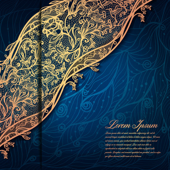 Gold Lace With Blue Background Vector-vector Abstract-free Vector Free  Download
