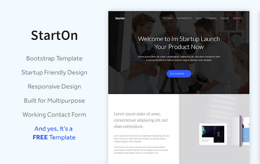 StartOn - Free Bootstrap Startup Template | TemplateOcean