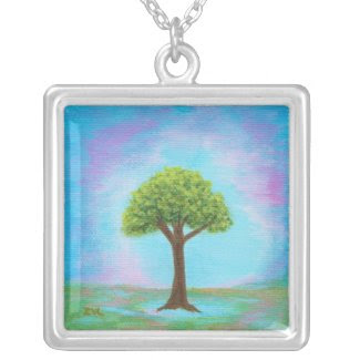 Happy Little Tree Square Pendant Necklace Painting