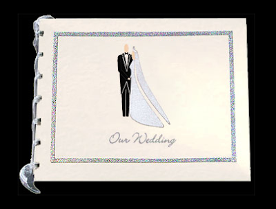 handmade wedding photo album with bride and groom