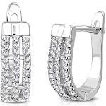 "925 Sterling Silver Baguette-Cut White Clear CZ Hoop Huggie Earrings 0.60"""